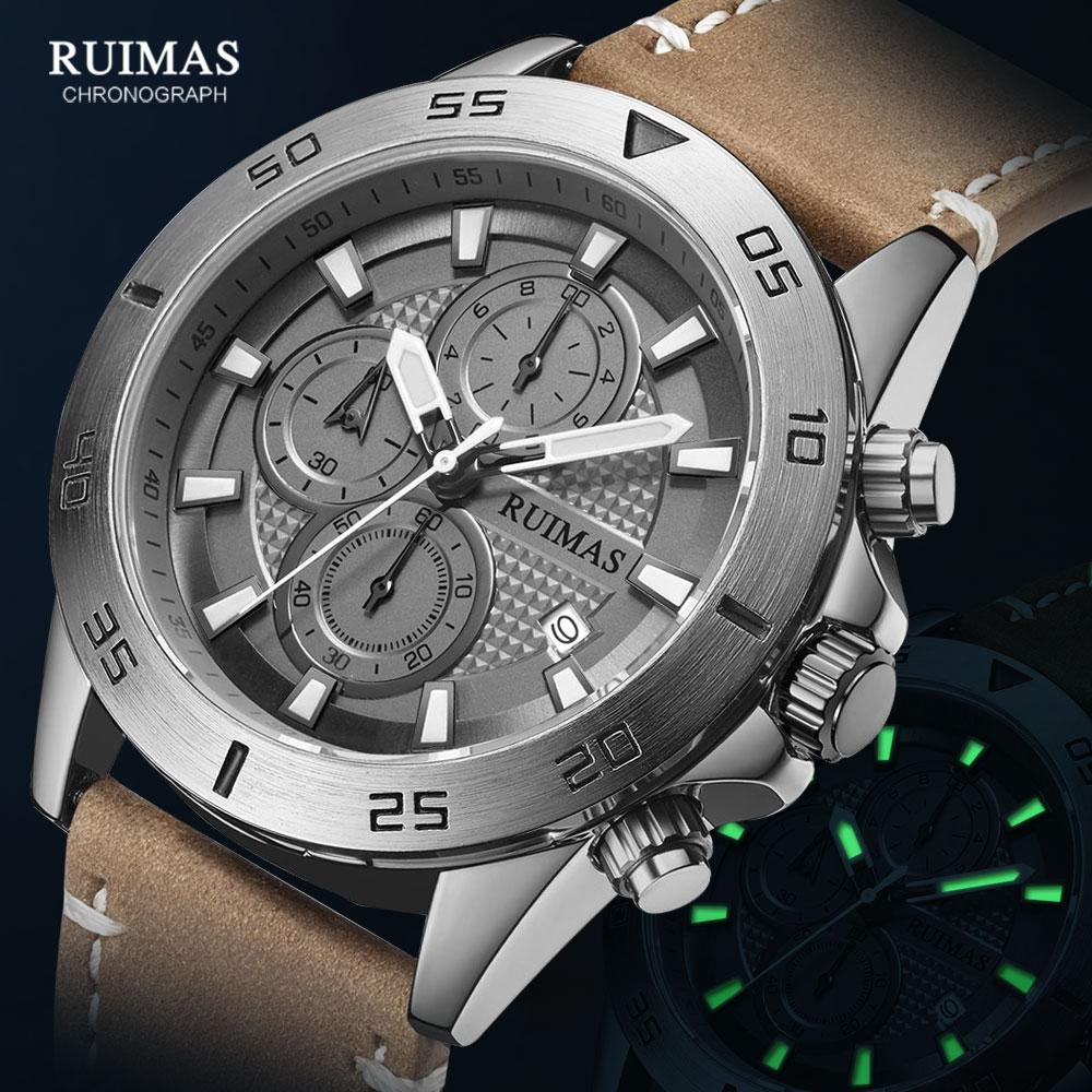 MEGIR & RUIMAS-ساعة كوارتز كرونوغراف للرجال ، سوار جلدي فاخر ، ساعة يد ، كاجوال ، مقاومة للماء ، مضيئة ، 2020