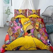 Cartoon Bed Linens Duvet Covers Simpsons Bed Linen Set Pillowcase Full Queen King Single Double Bedding Set 2/3 Piece Custom