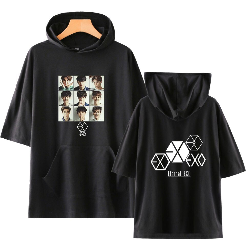 KPOP EXO Idol equipo Fans soporte camiseta con capucha mujeres Streetwear Harajuku PLANET #5 camisetas coreanas de manga corta con capucha camiseta