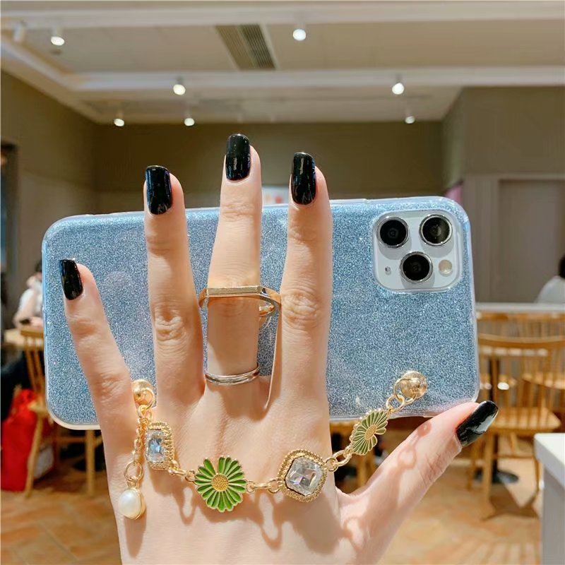 Bling Sparkle Diamond Flowers pulsera funda para Samsung Galaxy S10 5G S8 S9 J4 J6 J7 A6 A8 J8 teléfono funda soporte anillo suave
