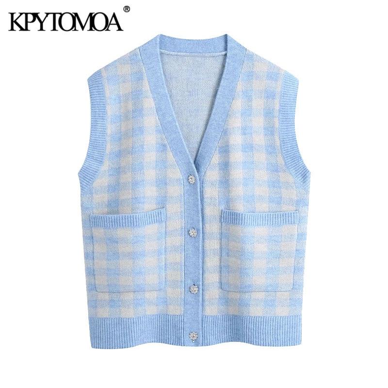 KPYTOMOA-سترة محبوكة كبيرة الحجم للنساء ، سترة برقبة على شكل V مع زر حجر الراين ، ملابس علوية أنيقة ، موضة 2021