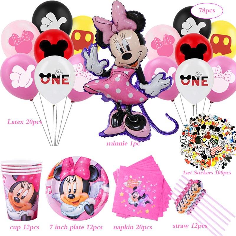 Hot Disney Minnie zaopatrzenie imprez z motywem myszki naklejki papierowe kubki i talerze serwetki dla dzieci dziewczynki Baby Shower dekoracje na imprezę urodzinową