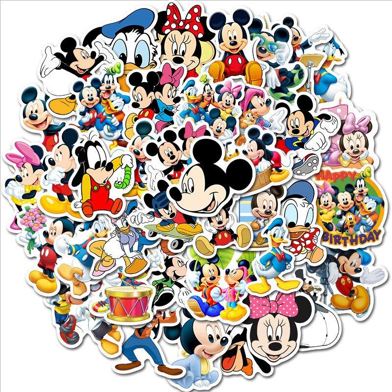 Nevera de dibujos animados de Mickey Mouse de Disney, pegatina bonita, decoración impermeable para refrigeradores, decoración del hogar, 50 Uds.