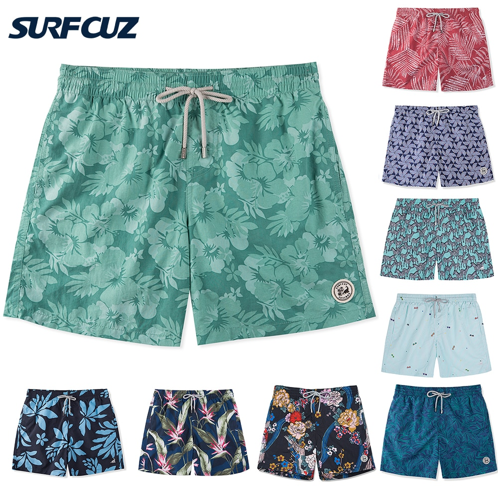 SURFCUZ Mens Fashion Beach Board Shorts with Pockets Summer Volley Shorts Swim Trunks for Men Quick Dry Swimwear Sports Suits