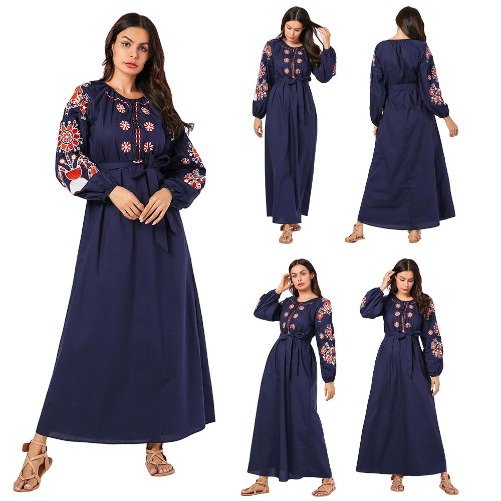 Dubai Muslim Women Embroidery Abaya Long Maxi Dress Arab Casual Islamic Kaftan Puff Sleeve Autumn O-neck 2019 Fashion Dress New
