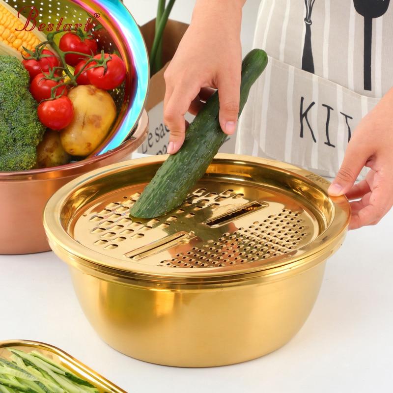 3 unid/set rebanador de verduras pelador de zanahorias rallador colador redondo de acero inoxidable cocina utensilio de lavado de arroz Cuenca del hogar