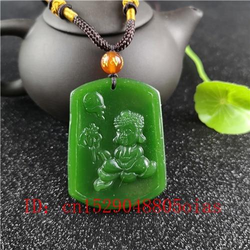 Collar con colgante de Jade y Buda de Hetian, verde y Natural, joyería Jadeíta tallada, amuleto para bebés, regalos para hombres y mujeres