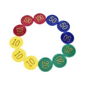 Пластиковый покерный чип с 4 золотыми большими цифрами, 160 шт., печать для игровых токенов, Пластиковые монеты-желтый + зеленый + красный + сини...