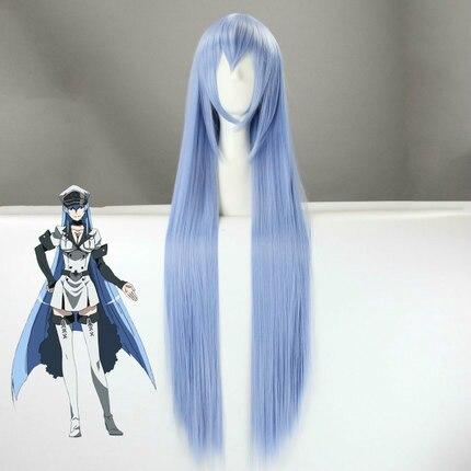 ¡Anime Akame ga matar! Peluca Esdeath azul recta larga fibra de alta temperatura pelo sintético Halloween Cosplay pelucas + peluca
