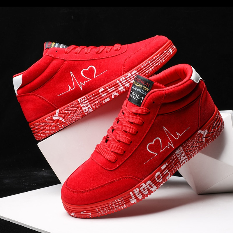 Fashion Women's Vulcanize Shoes Casual Flat Shoes Men's Sneaker Lace-up Couple High-top Breathable C