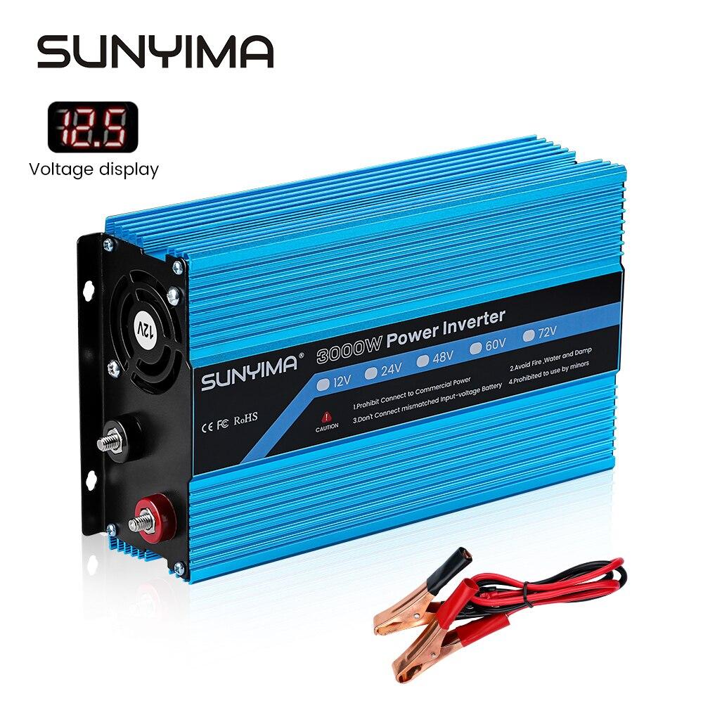 SUNYIMA 3000 واط تيار مستمر 12 فولت إلى التيار المتناوب 220 فولت عاكس الطاقة 50 هرتز LED المدخلات الجهد عرض شحن محول مقبس عالمي
