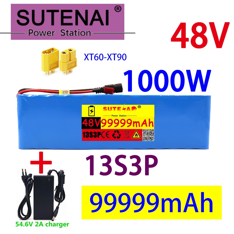 AliExpress - 48v99ah 1000W 13s3p 48V Li ion battery pack for 54.6V E-bike scooter with BMS + 54.6V CHARGER + backup battery