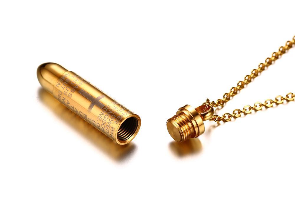 REN006 قلادة من الفولاذ المقاوم للصدأ ، قلادة مسيحية من الكتاب المقدس ، قلادة متقاطعة ، قلادة رصاصة ، مجوهرات دينية