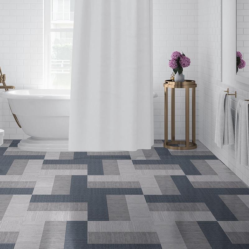 Waterproof Floor Stickers Self Adhesive Imitation carpet Wallpapers DIY Bathroom Kitchen Tile Wall Sticker Wall Ground Decor