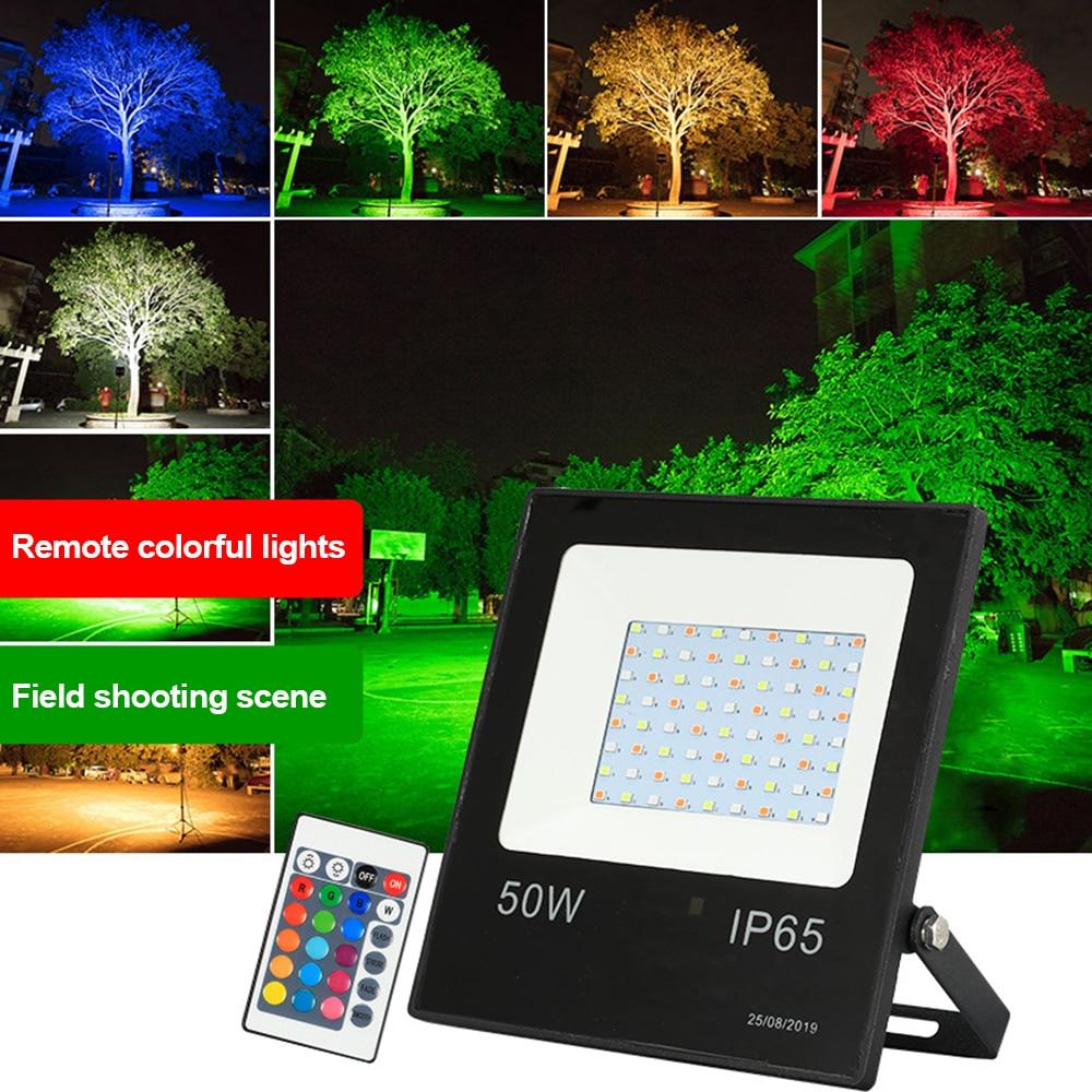 220V LED Flood Light RGB Remote Control 16colors 10W 30W 50W 100W Waterproof IP66 Flood Light Outdoor Spotlights Garden Lighting недорого