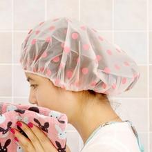 1PC Dot Waterproof Shower Cap Thicken Elastic Bath Hat Bathing Cap for Women Hair Salon Bathroom Products