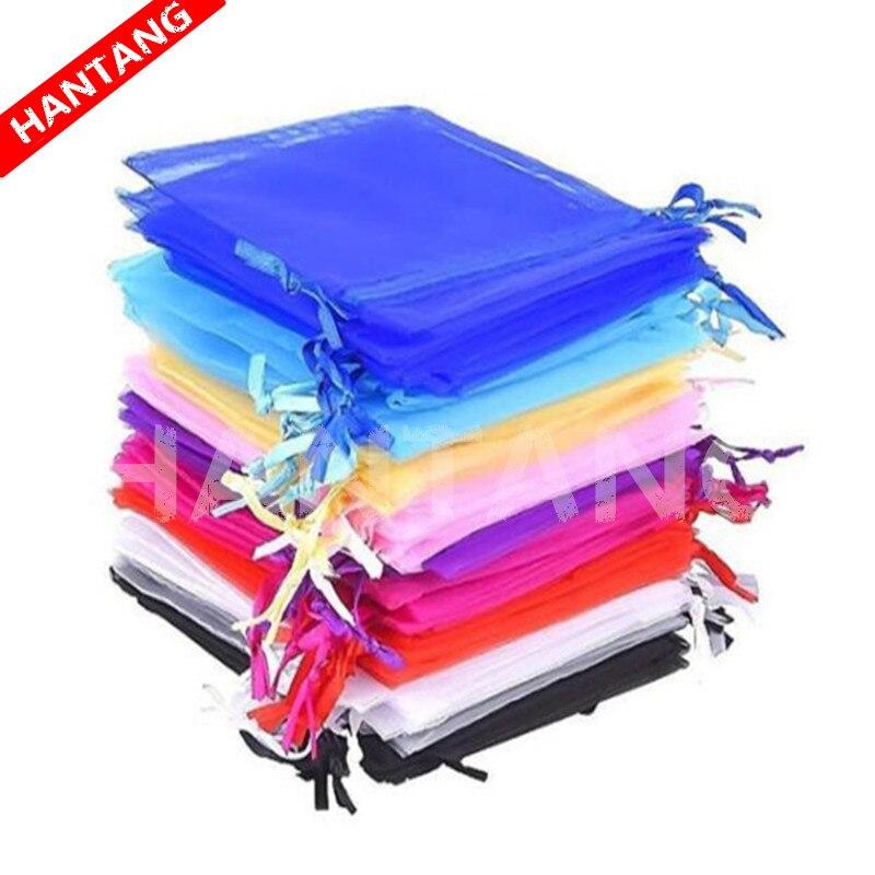 100 Uds. Bolsas de joyería, bolsas de Organza dibujables, 7x9 9x12 10x15 13x18 17x23 cm, bolsa de regalo, bolsita de Organza, decoración de boda/Comunión 5z