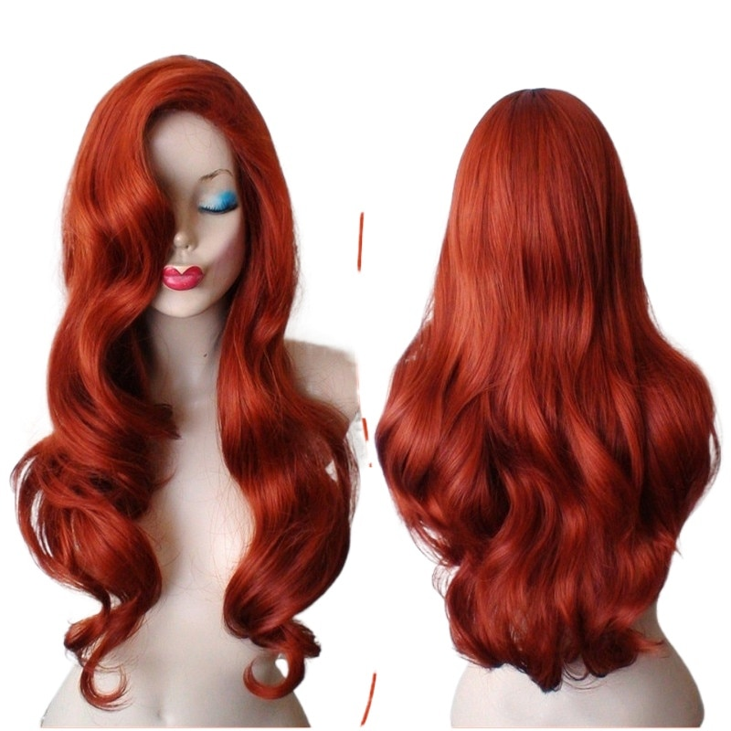 Jessica Rabbit Wavy Long Copper Red Hair Little Mermaid Princess Ariel Heat Resistant Cosplay Costume Wig