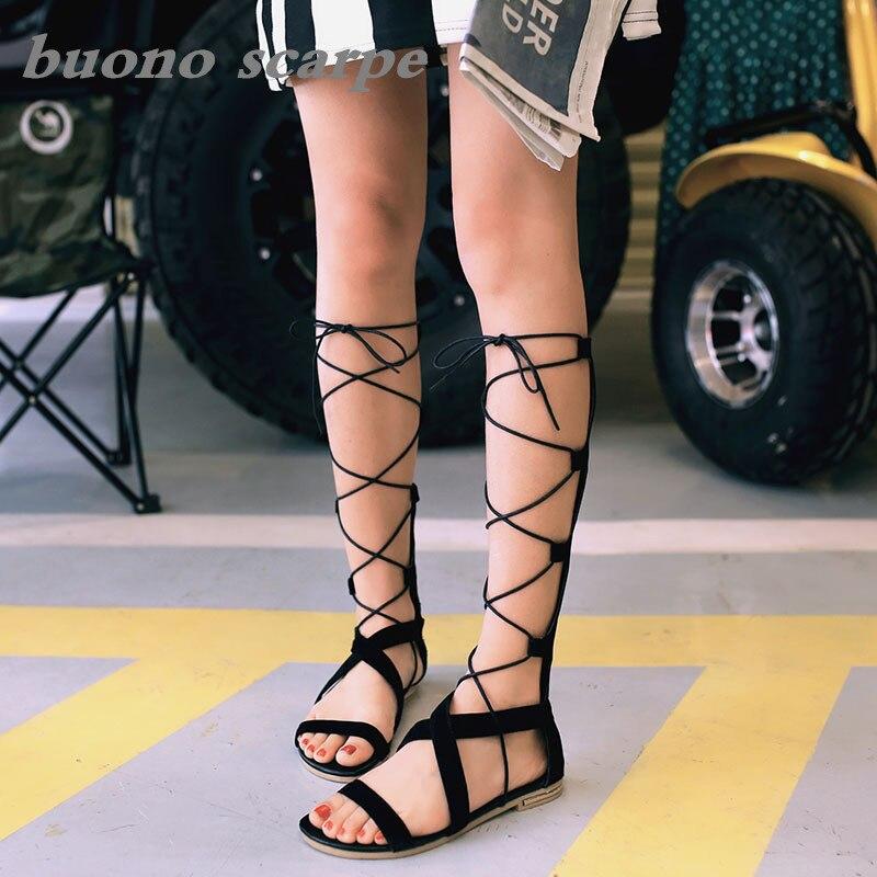 Botas romanas geniales, novedad de verano, botas de cuero para mujer, botas de tubo alto para mujer, sandalias de Tallas grandes
