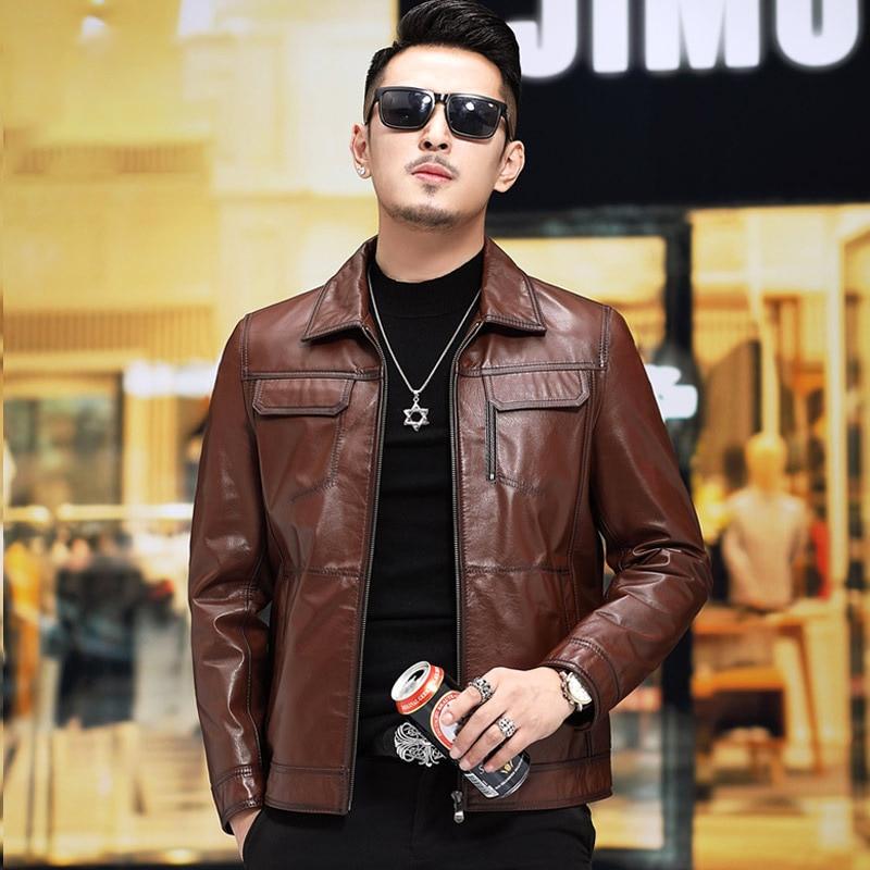 Genuine Jacket Coat Slim Men Leather Jackets And Coats Short Spring Autumn Mens