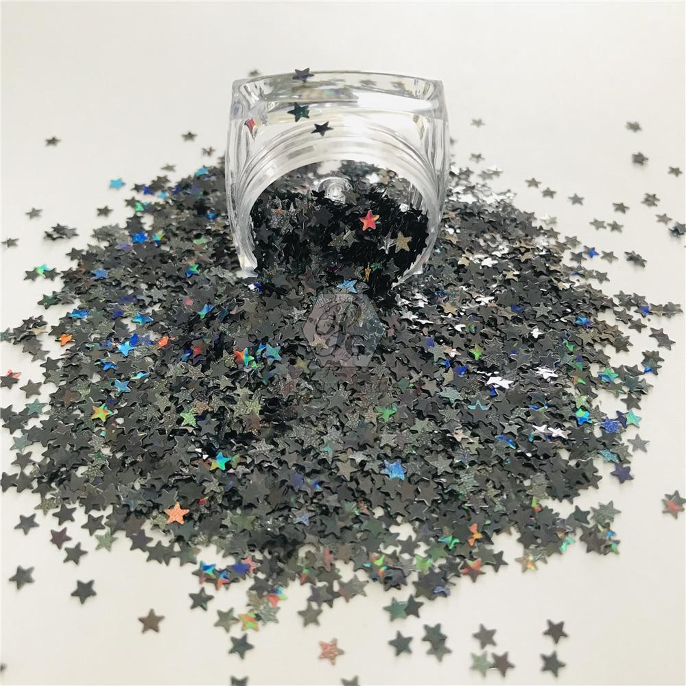 PrettyG 1 Box 14 Colors 3MM Star Shape Colorful Holographic Glitter Gel Nail Art Decoration Handwork
