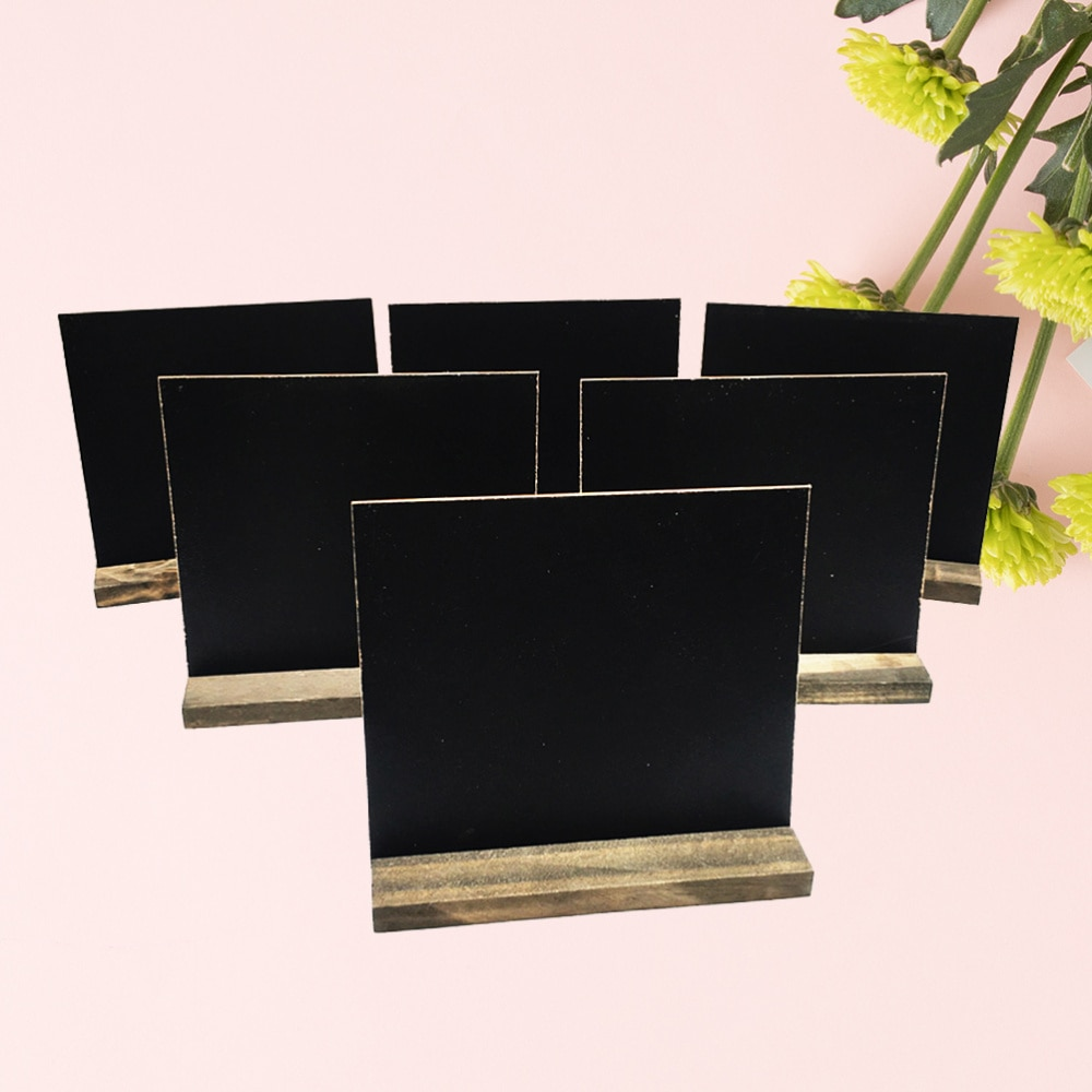 8pcs Mini Tabletop Chalkboards Signs Wooden Framed Small Blackboard with Removable Base for Restaurant Wedding
