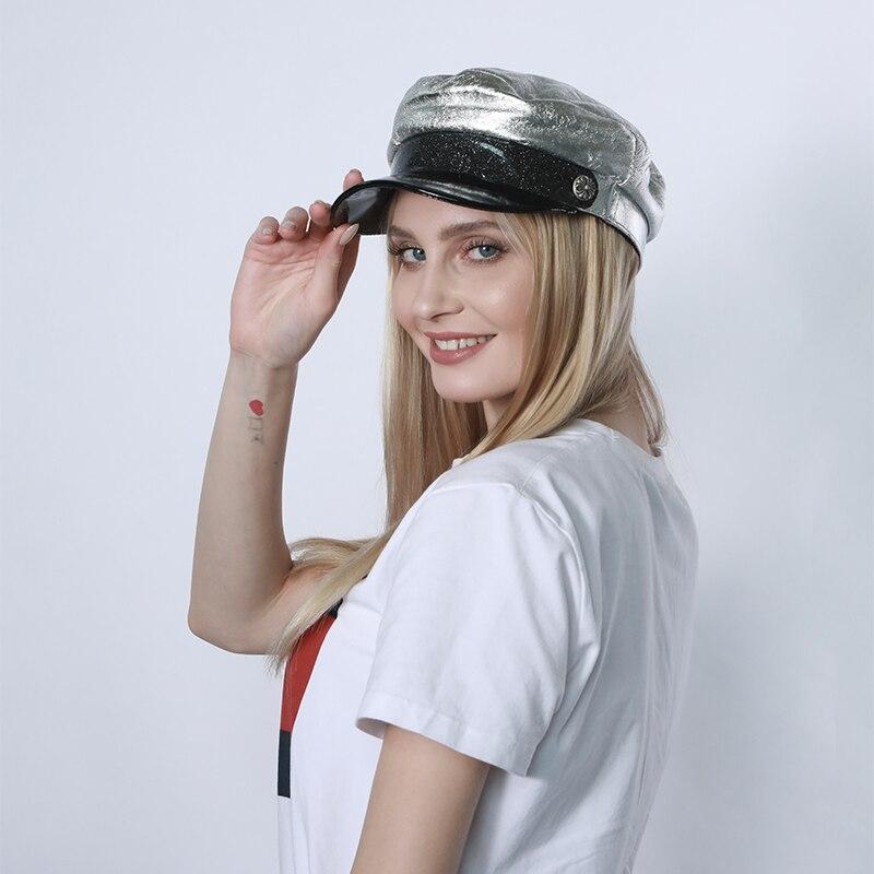 قبعة عسكرية للرجال والنساء ، قبعة عسكرية من جلد الغنم للجنسين ، سميكة ودافئة ، مسطحة وفضية ، لفصلي الربيع والخريف ، 2020