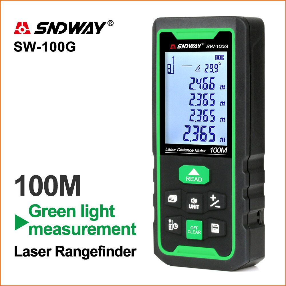 SNDWAY-telémetro láser de líneas verdes, telémetro Digital, cinta láser, regla de distancia,...