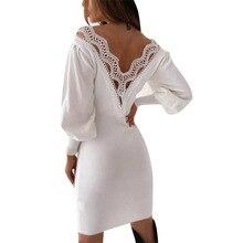 Sexy dentelle paquet robe de hanche femmes à manches longues mince moulante licou sur Mini robe femme licou cou blanc noir robes dautomne