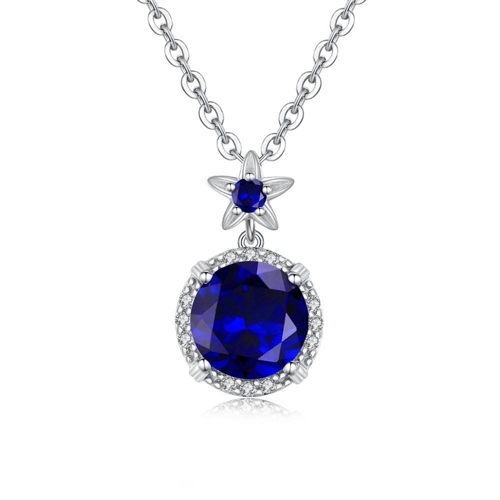 100% colgante redondo de zafiro azul oscuro de Plata de Ley 925 para mujer con flores en forma de estrella Regalo de Cumpleaños joyería exquisita