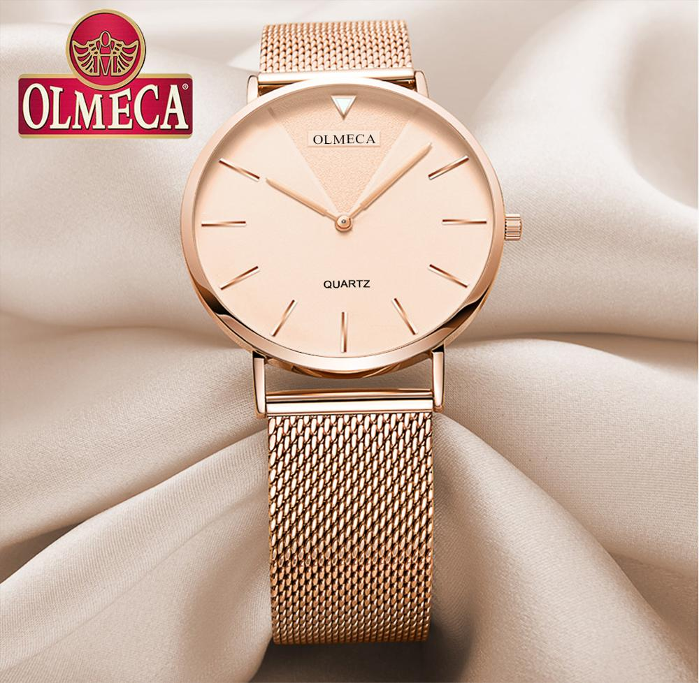 Relojes OLMECA para Mujer relojes de banda de malla Reloj de marca de lujo Reloj Mujer resistente al agua relojes de cuarzo regalo Reloj femenino
