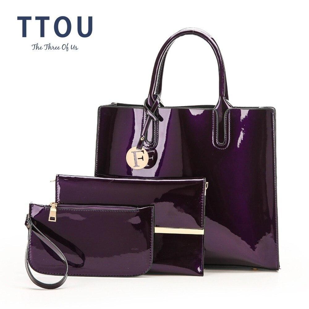 TTOU بو الجلود حقيبة يد المرأة الفاخرة الماركات حمل حقيبة أزياء السيدات الكتف حقيبة 3 قطعة/المجموعة الإناث أنيقة حقيبة