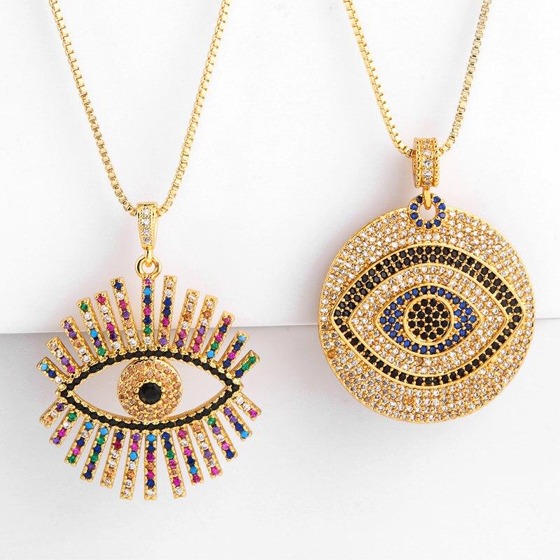 2019 nuevo collar de ojo turco arcoíris CZ para mujer moda Zirconia oro cadena larga redonda colgante con abalorio joyería