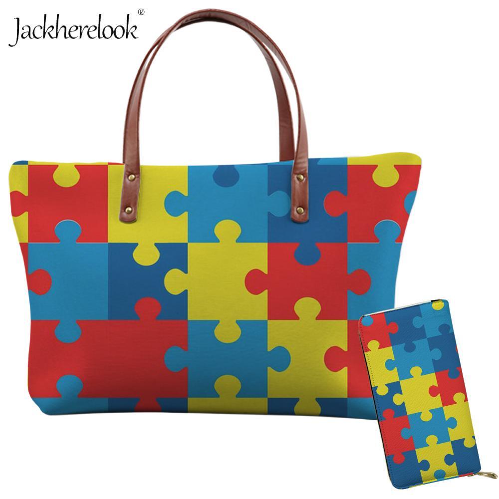 Jackherelook 2Pcs Autism Awareness Multi Color Women Shoulder Bag Lady Tote Bag Large Neoprene Messenger Bag and Purse/Wallet