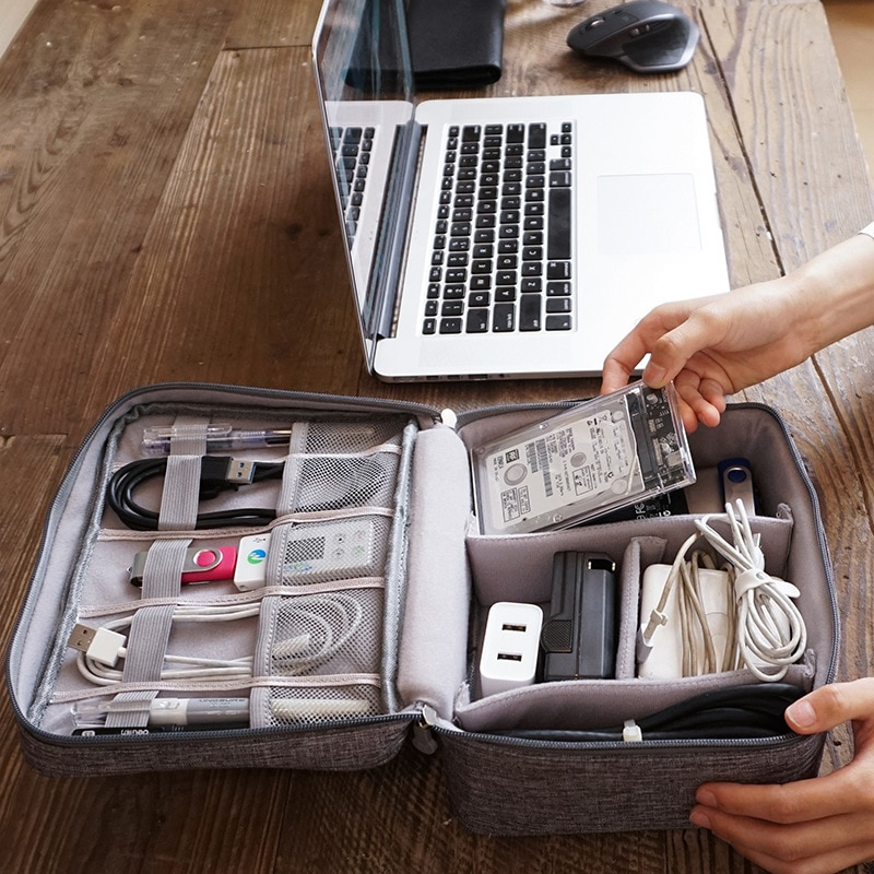 Mini bolsa de viaje portátil, organizador de almacenamiento Digital de cables, USB,...