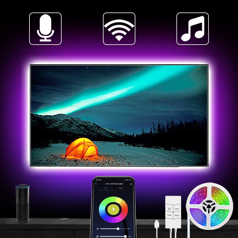 Tira de luces Led USB Alexa, WiFi, inteligente, cambia de Color, Control...