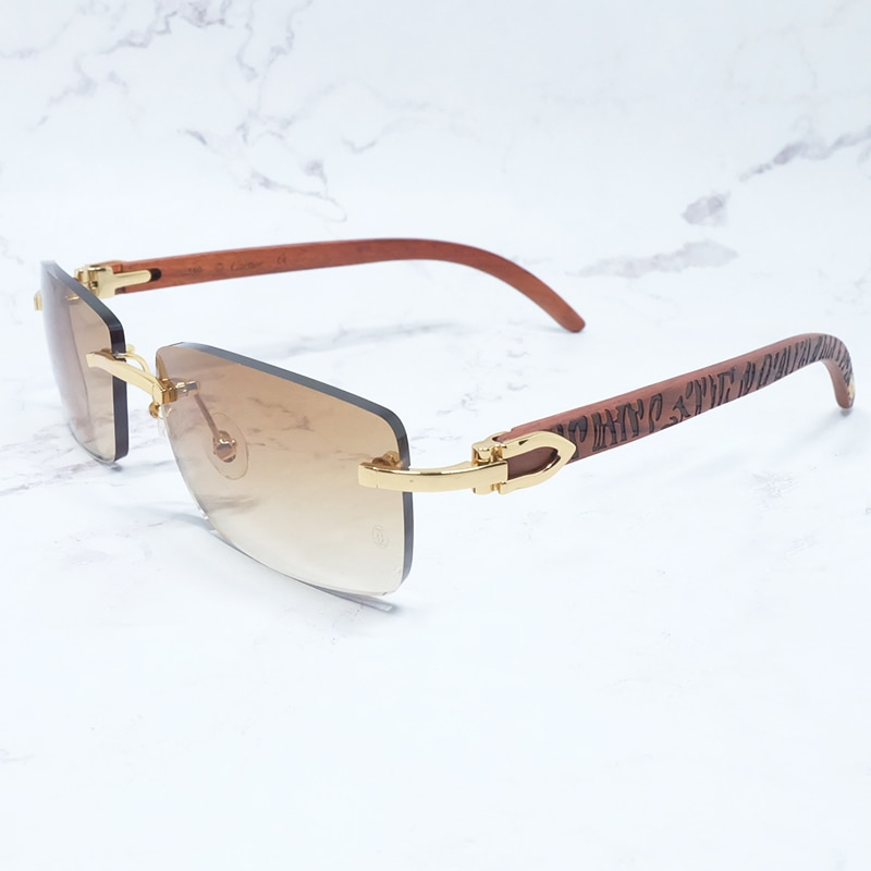 نظارة شمسية بخطوط خشبية ، نظارات شمسية فاخرة ذات علامة تجارية ، إكسسوار أزياء عتيق