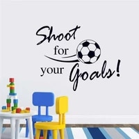 flying football shoot for your goal wall sticker english letters home decals stickers for kids room living room decor mural