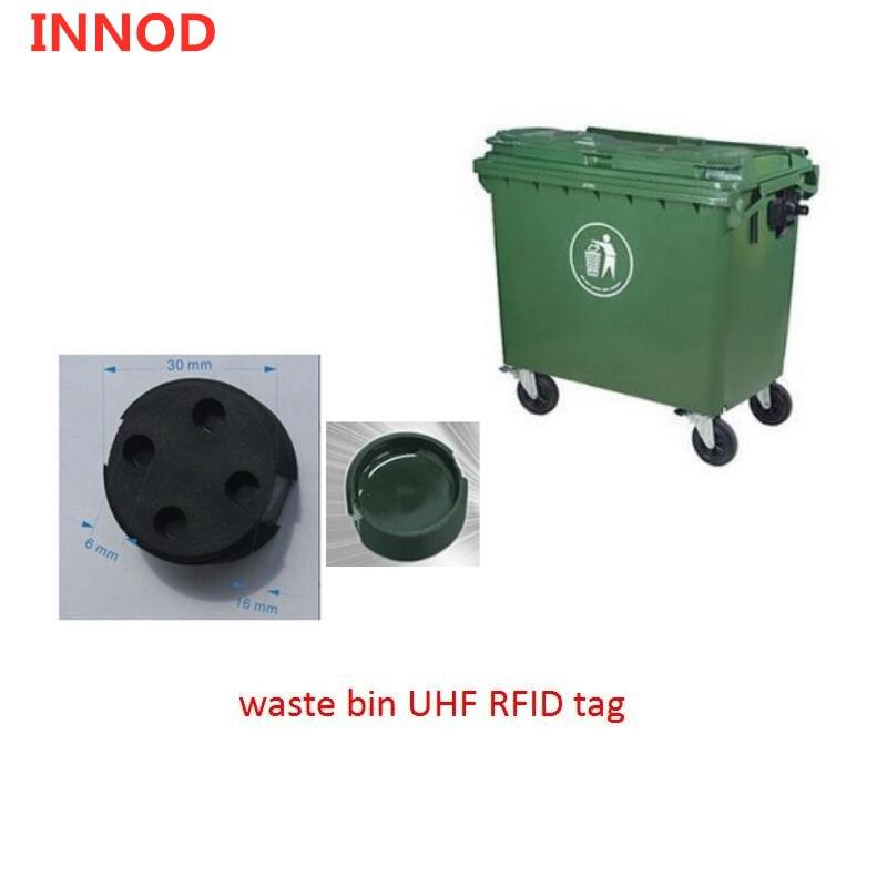 Etiqueta de cubo UHF RFID de buen rendimiento para entornos al aire libre duros/chip h3 alien 900mhz Etiqueta de gusano RFID para la gestión de contenedores de basura