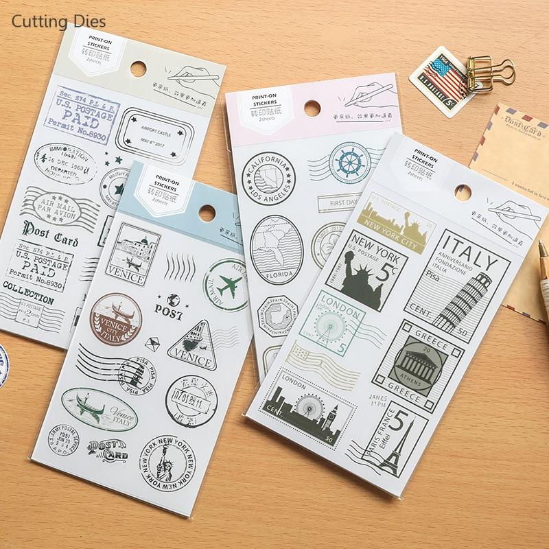 2 hojas/lote 19X10cm cartas de correo Vintage PVC pegatinas de papel frotar en el juego de pegatinas para Scrapbooking fabricación de tarjetas de feliz planificador