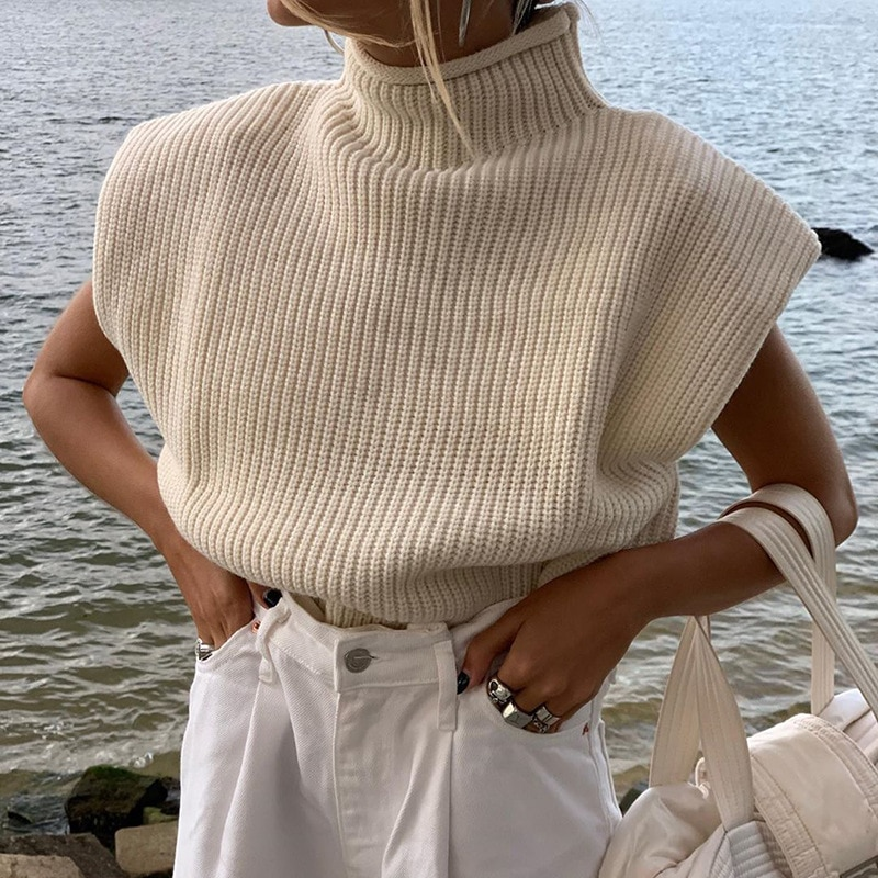 2020 Winter Women Knitted Knit Sweaters Solid Casual Turtleneck Pullover Basic Short Jumper Autumn Tank Top Sweater Female