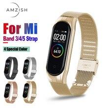 Amzish Metal Correa para Xiaomi Mi Band 4 5 3 correa de Metal de acero inoxidable para pulsera inteligente Mi Band 3 y 4 5