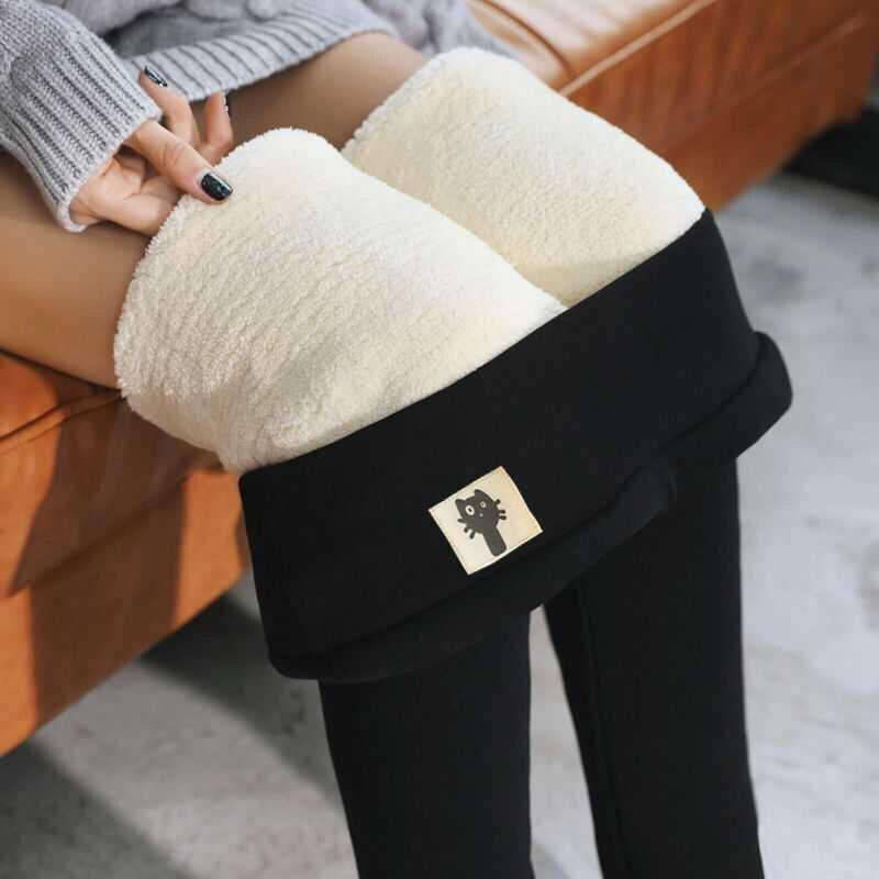 2020 New Autumn Women's Pants Thickened High Waist Leggings Slim Trousers Black Tight Socks Warm Women Pants Girls Socks