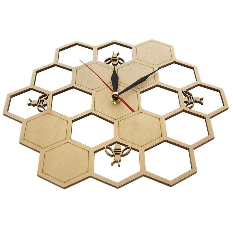 Nuevo reloj de madera de corte, abeja en panal de miel, reloj de pared de naturaleza hexagonal, reloj geométrico, decoración artística de cocina