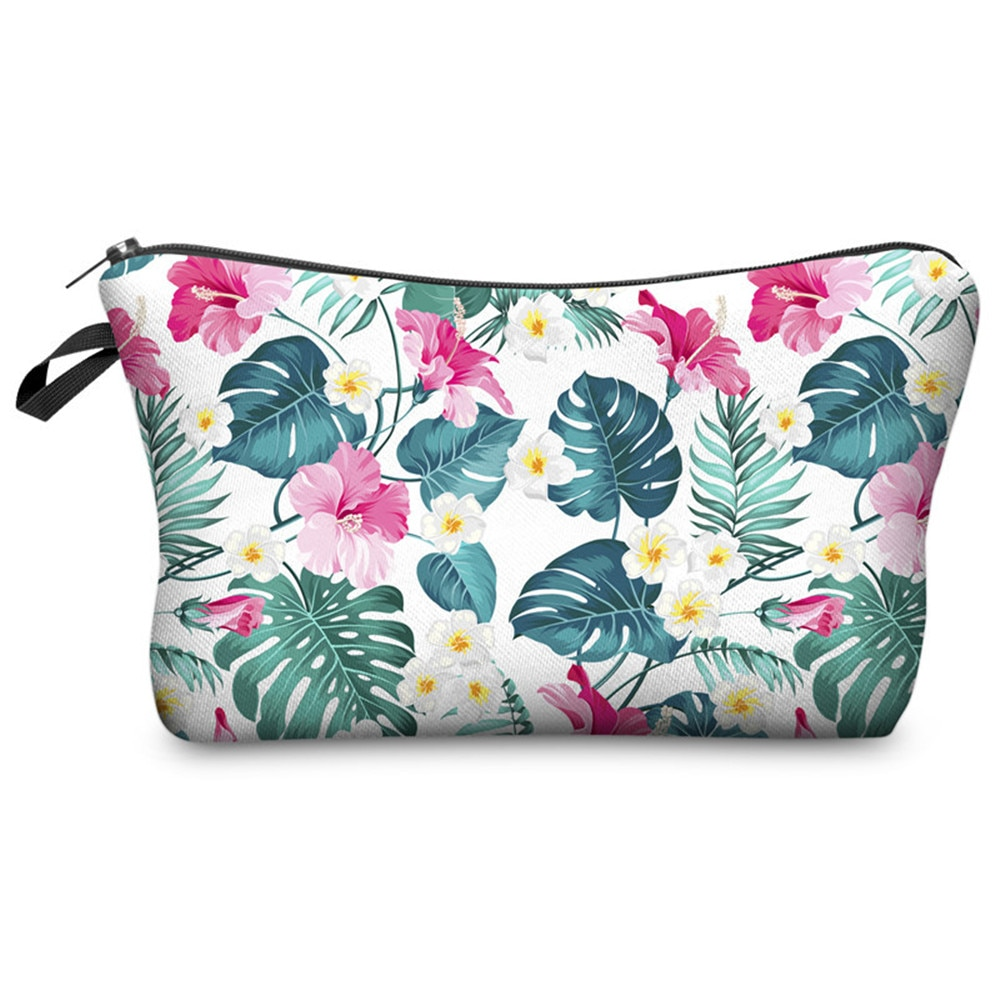 3d Printed  Leaf Flowers Plant Cosmetic Bags Women Necessaries For Travelling Storage Makeup Bag 202
