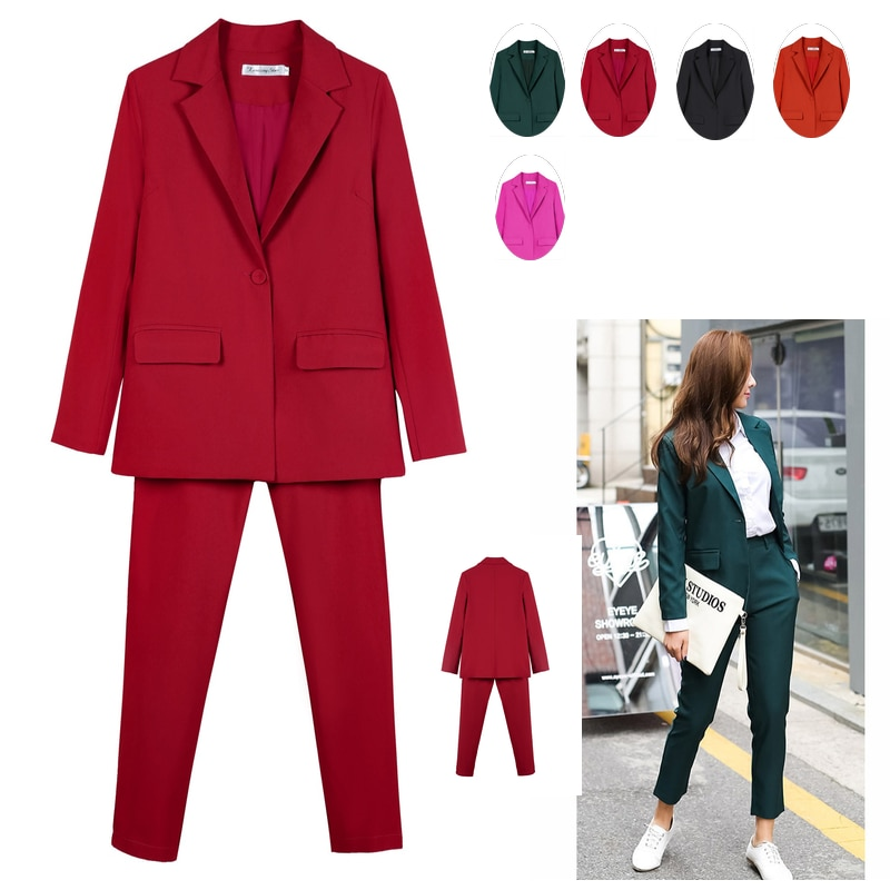 Work Pant Suits OL 2 Piece Set for Women Business interview suit set uniform smil Blazer and Pencil