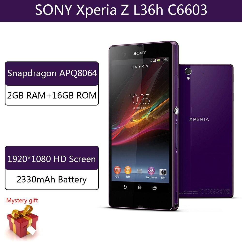 هاتف ذكي سوني اكسبريا Z L36h C6603 2GB RAM 16GB ROM سنابدراجون APQ8064 هاتف ذكي 1920x1080 مقاوم للماء هواتف محمولة