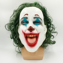 Scary full headgear for latex scary clown mask and green wig costume party Halloween party cosplay c