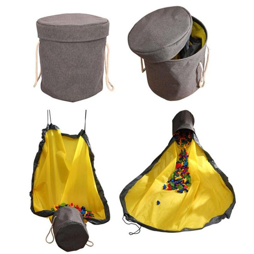 Bolsa de almacenamiento portátil de juguete, tapete de juego juguete grande, cesta de limpieza rápida, contenedor de almacenaje a prueba de agua para niños, organizador de Juguetes