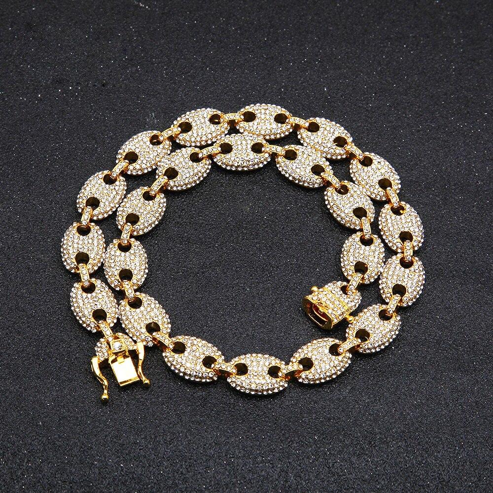2019 nova chegada hip hop colar de jóias de cristal cheio bling chain colar para mulheres presente transporte da gota